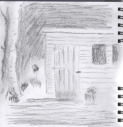 Pencil sketch of Garden Shed.